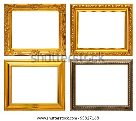 Gold frame Collection on white background