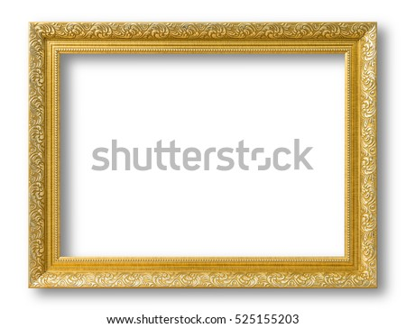 Gold frame for painting or picture on white background.  isolated.