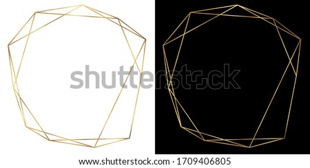 Gold frame, geometric polyhedron, art deco style for wedding invitations, luxury template, decorative pattern, Modern abstract elements isolated on black and white background. Photo stock ©