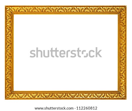 Gold frame Gold gilded arts and crafts pattern picture frame Isolated on white