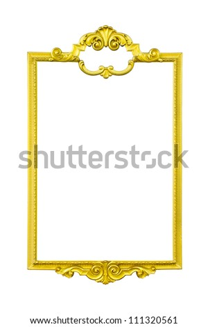 gold frame isolate on white background