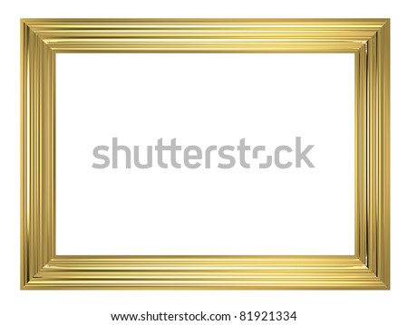 Gold frame isolated on white background. Computer generated 3D photo rendering.