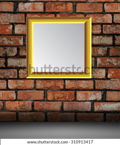 gold frame on the Old grunge brick wall. text box. art
