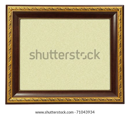Gold frame on white background