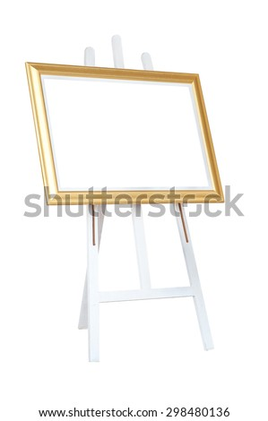 gold frame with a white space on the stand isolated on white background