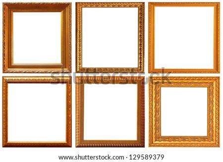 Gold frame with white background. Rectangular shape.