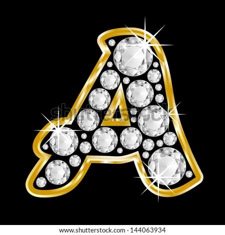 Gold Framed Alphabet L...M Letter In Black Diamonds