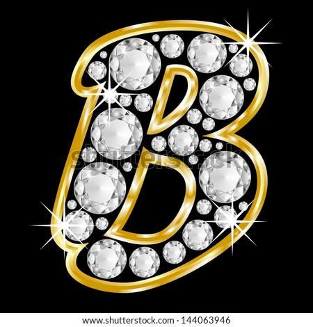 Gold Framed Alphabet Letter B Filled With Diamonds On ...