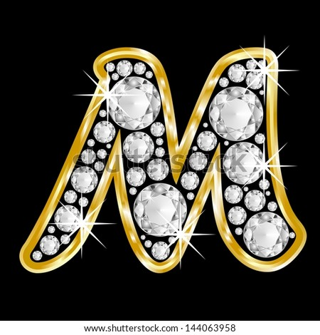 M Letter In Black Diamonds Gold framed alphabet letter M