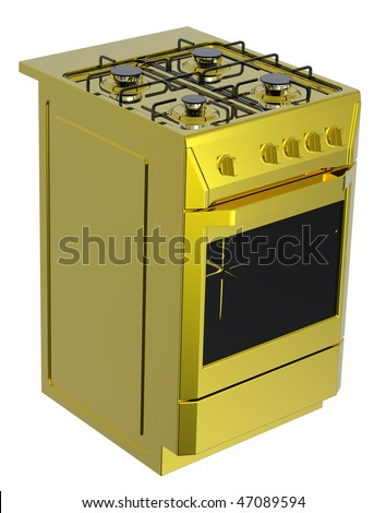 Gold free standing cooker. Computer generated 3D photo rendering.