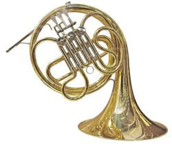 Gold French Horn isolated on white background