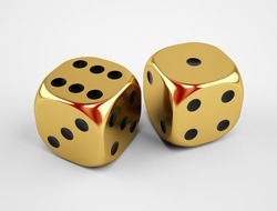 Gold Game Dice Cubes isolated on white background