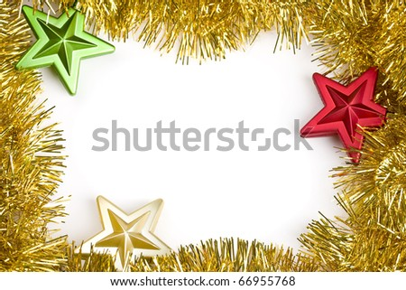 Gold garland decorated with red, green and gold color star shape ornaments for holiday decoration. Ready to drop your holiday greetings.