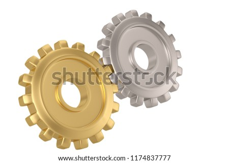 Stock Photo Gold gear and steel gear on white background. 3D illustration.