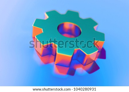 Gold Gear Icon With Abstract Reflections on Blue Background With Smooth Focus. 3D Illustration of Cog, Cogwheel, Engine, Gears, Mechanism Icon Set for Presentation.