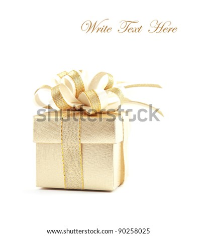 Gold gift box over white background
