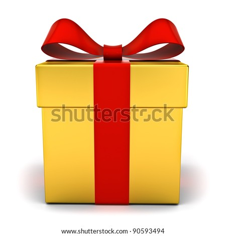 Gold gift box with red ribbon bow on white background