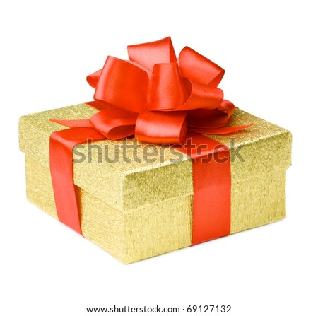 Gold gift box with red ribbons