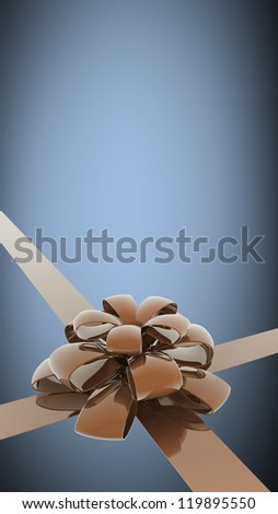 Gold gift ribbon bow background. card with free space. High resolution 3d render