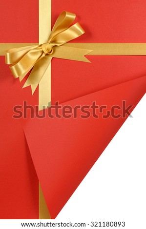 Gold Gift Ribbon Bow Red Background Curled Or Folded Corner Copy Space