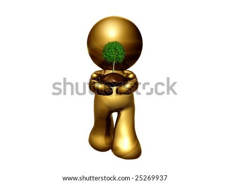 Gold girl icon serving a small plant with soil for preserving the nature