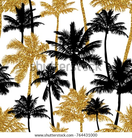 Gold glitter and black palm trees on white background. Hand drawn seamless pattern. Jpg image. Perfect for fabric, wallpaper or gift wrap. #764431000