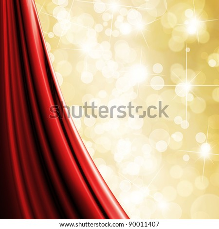 Gold glitter christmas background with red curtain and copy space