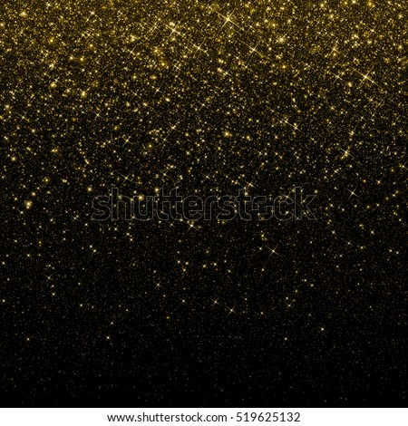 Gold glitter confetti background. Falling golden glittering snow or rain light effect for Christmas and New Year backdrop, greeting card. Sparkling golden stars and snowflakes.