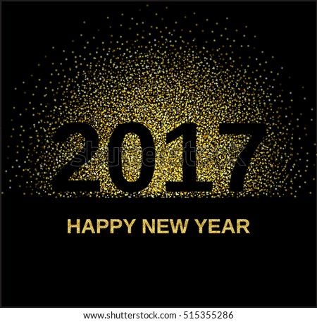 Gold glitter Happy New Year 2017 background. Glittering texture. Gold sparkles with frame. Design element for festive banner, card, invitation Raster version