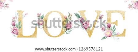 Gold glitter letter alphabet. Isolated Golden alphabetic fonts and numbers on white background. Floral wedding font typeset illustration