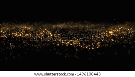 Gold glitter particles, shining gold sparks wave background. Gold glow and shimmering sparkles shine, abstract magic bright sparks in wave motion