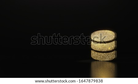 gold glitter symbol of three memory discs 3D rendering on dark black background with blurred reflection with sparkles