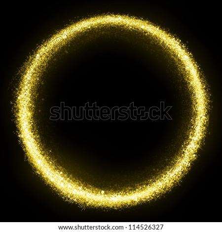 Gold glittering star dust circle. Twinkling ellipse