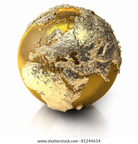 Gold globe with realistic topography and light reflections, metal earth - europe, 3d render