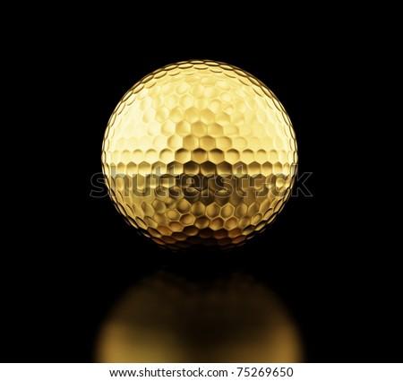 gold golf ball on black background