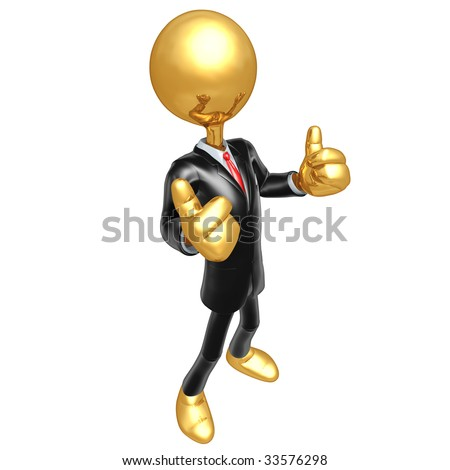 Gold Guy Businessman Dressed For Success