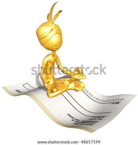 Gold Guy Djinn On Blank Check Magic Carpet