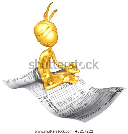 Gold Guy Djinn On Magic Carpet Tax Form
