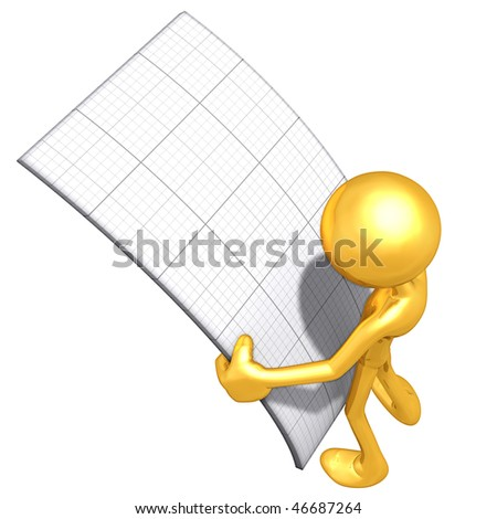 Gold Guy Looking At Graph Paper