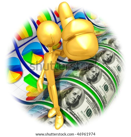 Gold Guy Thumbs Up Business Reports - stock photo