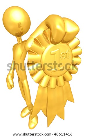 Gold Guy With Gold 1st Place Ribbon