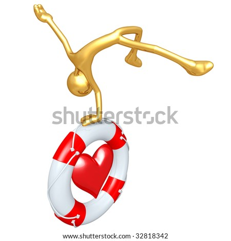 Gold Guy With Lifebuoy Heart