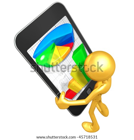 Gold Guy With Touch Screen Business Reports