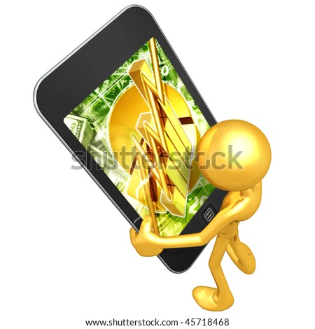 Gold Guy With Touch Screen Financial Report