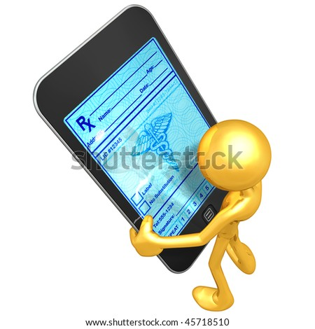 Gold Guy With Touch Screen Medical Prescriptions
