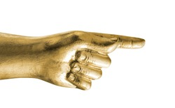 gold hand points a finger. Isolated on white, include clipping path