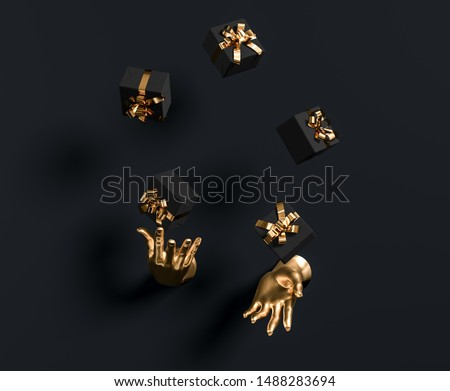 Gold hands sculpture juggle gift boxes on black background. Luxury happy birthday, holiday abstract giveaway concept. 3d illustration