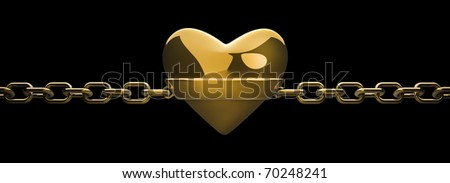 gold heart and gold chain isolated on black - love concept 3d