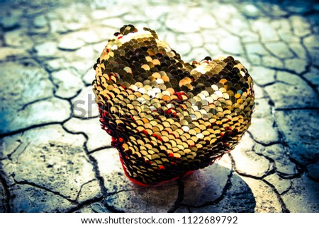 Gold heart on floor,Love heart, Love concept #1122689792