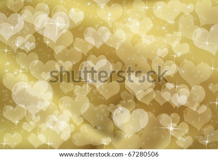 Gold hearts on a gold sparkle background, gold heart background